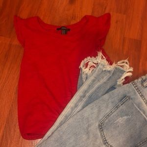 Forever 21 Red Ruffle Top